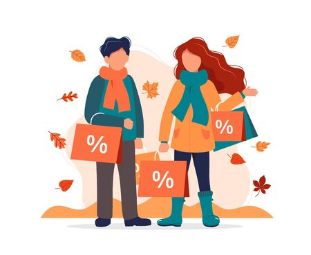 Autumn sale, man and woman with shopping bags in autumn. Vector illustration in flat style Illustration