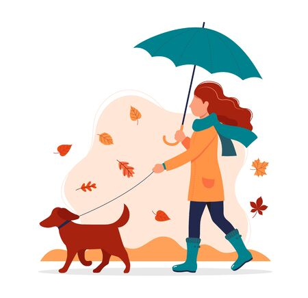 Woman walking a dog in autumn with umbrella. Vector illustration in flat style