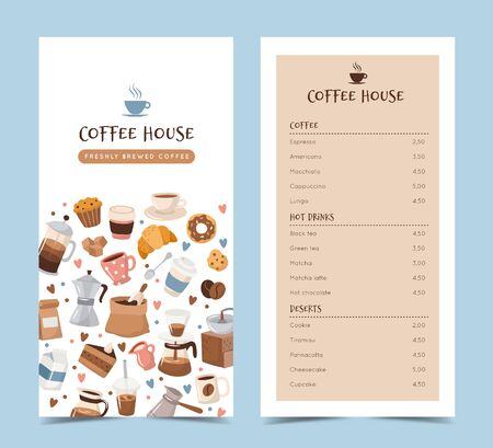 Coffee menu template with different coffee elements. Cute cartoon icons in hand drawn style. Vector illustration
