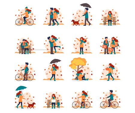 People doing different outdoor activities in autumn. Vector illustration set in flat style