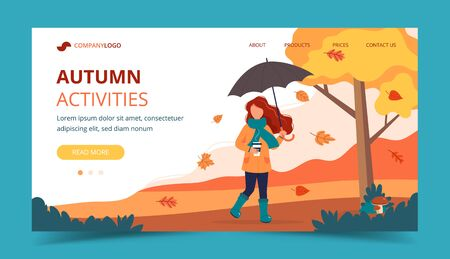 Woman with umbrella and coffee in autumn. Landing page template. Cute vector illustration in flat style. Stock Illustratie