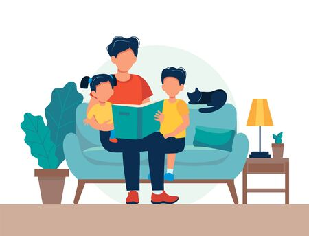 Dad reading for kids. Family sitting on the sofa with book. Cute vector illustration in flat style Фото со стока - 131377282