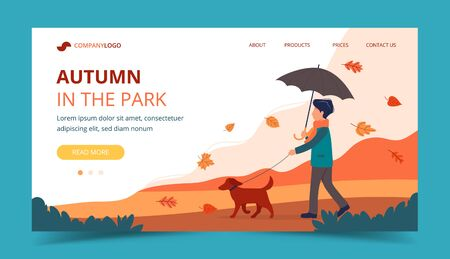 Man walking the dog in autumn. Landing page template. Cute vector illustration in flat style.