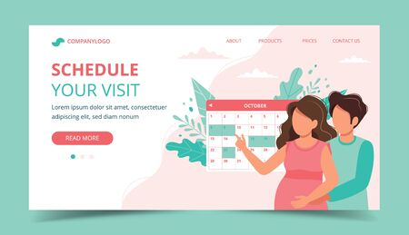 Medical appointment pregnancy. Couple scheduling an appointment with calendar. Landing page template. Cute vector illustration in flat style