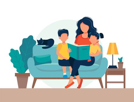 Mom reading for kids. Family sitting on the sofa with book. Cute vector illustration in flat style Фото со стока - 131377289