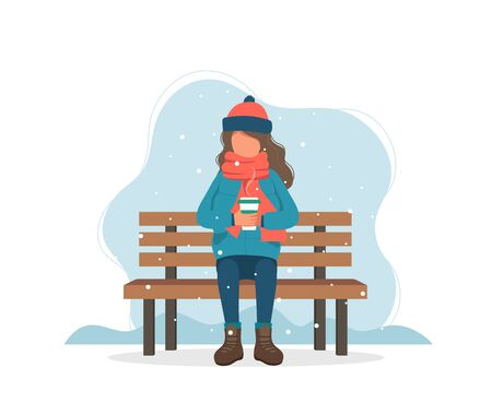 Girl sitting on bench in winter with coffee. Cute vector illustration in flat style Çizim