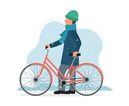 Man with a bike in winter. Cute vector illustration in flat style