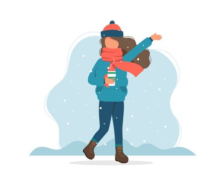 Girl with snow in winter with coffee cup. Cute vector illustration in flat style