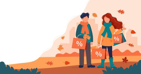 Autumn sale, man and woman with shopping bags in autumn. Vector illustration in flat style 向量圖像