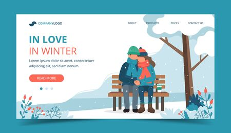 Loving couple on the bench in in winter. Landing page template. Cute vector illustration in flat style.