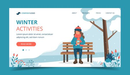 Girl sitting on bench in winter with coffee. Landing page template. Cute vector illustration in flat style