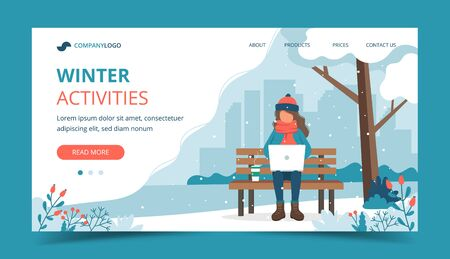 Girl sitting on bench in winter with laptop. Landing page template. Cute vector illustration in flat style Ilustrace
