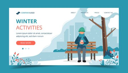 Man sitting on bench in winter with coffee. Landing page template. Cute vector illustration in flat style.