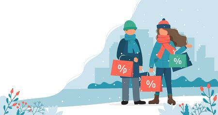 Man and woman with sales bags in winter. Cute vector illustration in flat style.