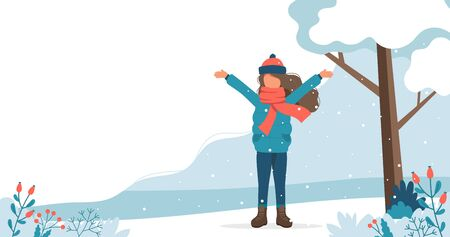 Girl playing with leaves in the park in winter. Cute vector illustration in flat style.