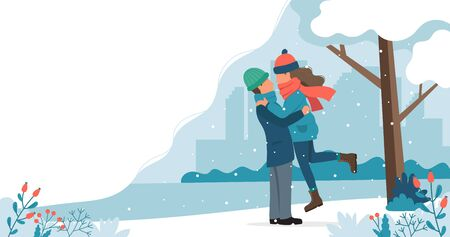 Loving couple in winter. Cute vector illustration in flat style. Ilustrace