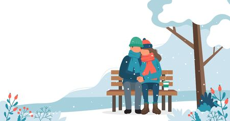 Loving couple on the bench in winter. Cute vector illustration in flat style.