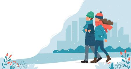 Couple walking in in winter. Cute vector illustration in flat style. Ilustrace