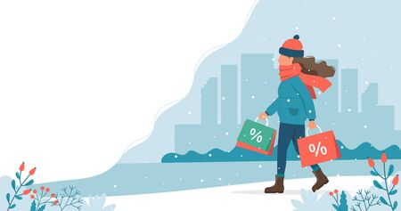 Woman with sales bags in winter. Cute vector illustration in flat style.