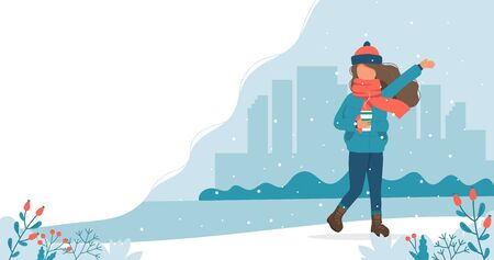 Girl playing with snow in winter with coffee cup. Cute vector illustration in flat style
