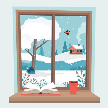 Winter window with view, a book and a coffee cup on the sill. Cute cozy vector illustration in flat style