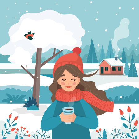 Cute girl in winter holding a cup with winter landscape and snow. Vector illustration in flat style