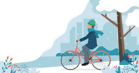 Man riding bike in the park in winter. Cute vector illustration in flat style.