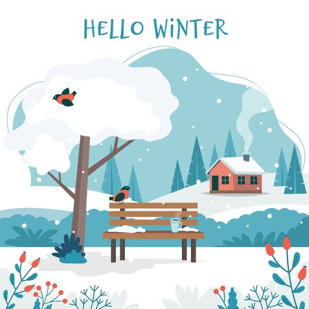 Hello winter, landscape with cute bench, coffee cup, white tree, cute house, fields and nature. Vector illustration in flat style