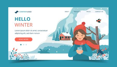 Cute girl in winter holding a cup, winter landscape and snow. Landing page template. Vector illustration in flat style