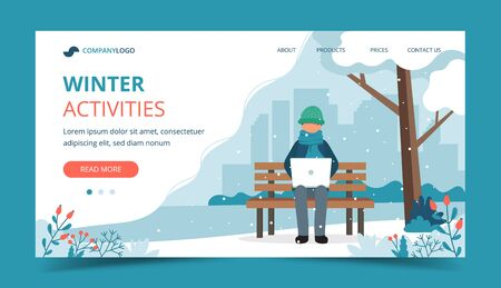 Man sitting on bench in winter with laptop. Landing page template. Cute vector illustration in flat style