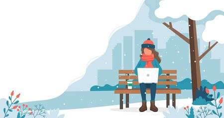 Girl sitting on bench in winter with laptop. Cute vector illustration in flat style