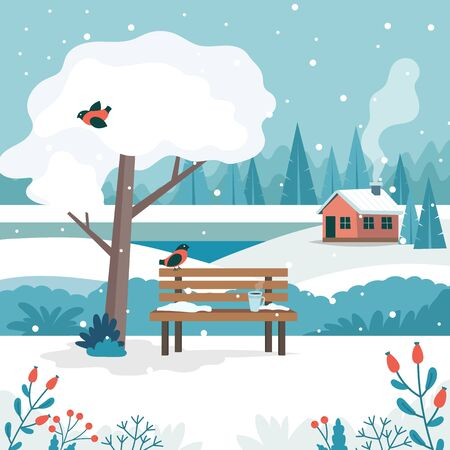 Winter landscape with cute bench, coffee cup, white tree, cute house, fields and nature. Vector illustration in flat style