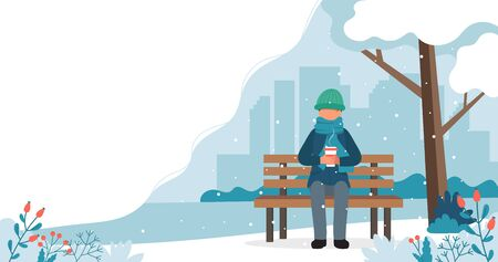 Man sitting on bench in winter with coffee. Cute vector illustration in flat style