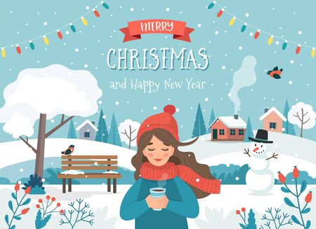 Merry christmas card with a girl and cute landscape. Cute vector illustration in flat style