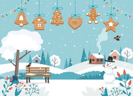 Merry christmas card with cute landscape and hanging gingerbread cookies. Cute vector illustration in flat style Ilustrace
