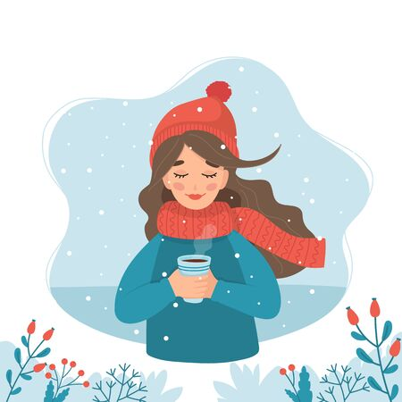 Cute girl in winter holding a cup with winter background and snow. Vector illustration in flat style