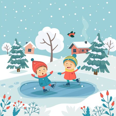 Merry christmas greeting card with children ice skating. Cute vector illustration in flat style