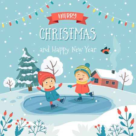Merry christmas greeting card with children ice skating and text. Cute vector illustration in flat style Çizim