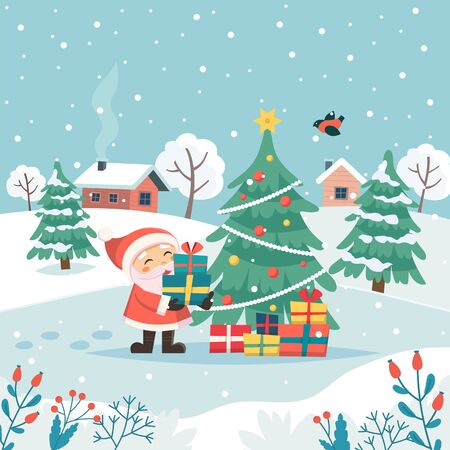 Santa with christmas gifts. Merry christmas greeting card. Cute vector illustration in flat style