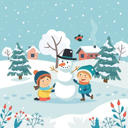 Merry christmas greeting card with children making snowman. Cute vector illustration in flat style