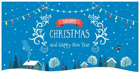 Christmas card with night landscape, text and hanging decorations. Cute vector illustration in flat style