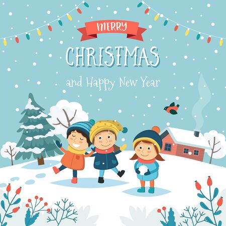 Merry christmas greeting card with children playing with snow and text. Cute vector illustration in flat style