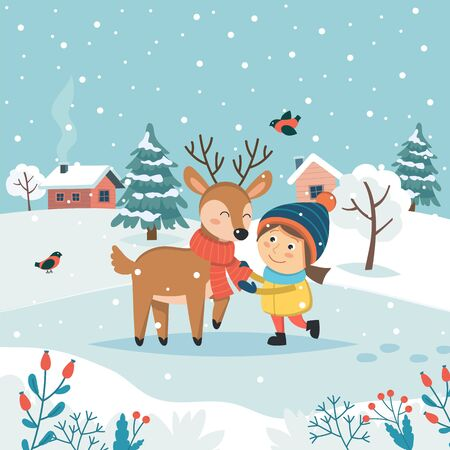 Girl with reindeer and cute winter landscape. Merry christmas greeting card. Cute vector illustration in flat style