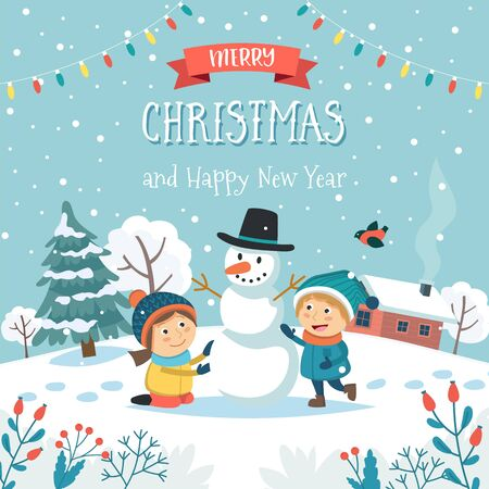 Merry christmas greeting card with children making snowman and text. Cute vector illustration in flat style