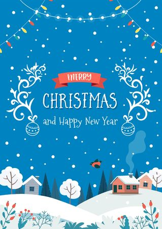 Winter landscape with cute houses and hanging lights. Christmas greeting card template. Vector illustration in flat style