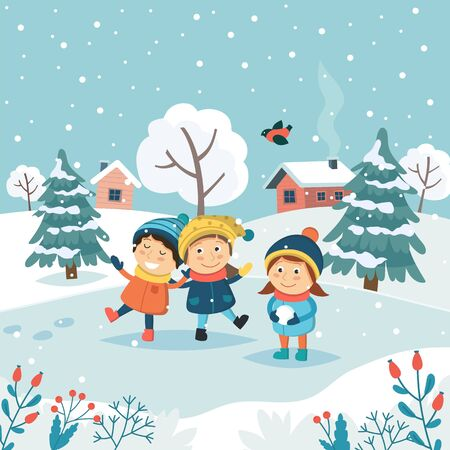 Merry christmas greeting card with children playing with snow. Cute vector illustration in flat style