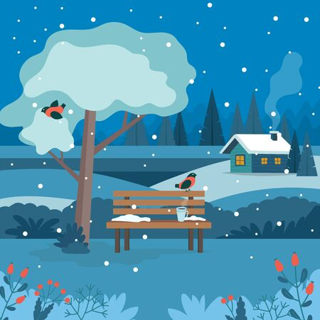 Winter landscape with bench at night. Cute vector illustration in flat style