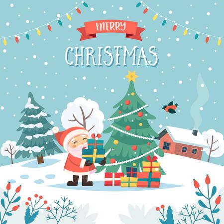 Santa with christmas gifts. Merry christmas greeting card with text. Cute vector illustration in flat style Çizim