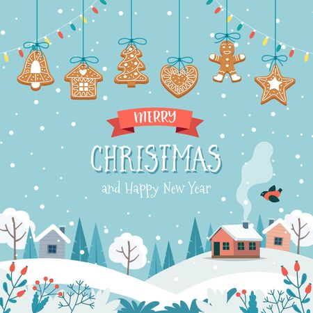 Christmas greeting card with cute landscape and hanging gingerbread cookies. Cute vector illustration in flat style