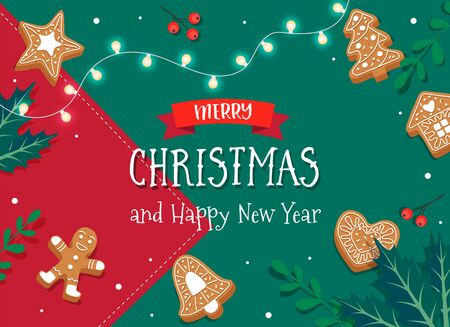 Merry Christmas card template with gingerbread cookies. Cute vector illustration in flat style Illustration